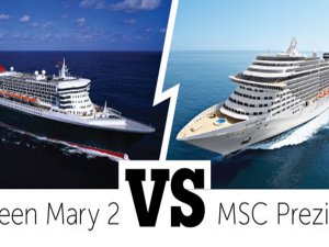 Queen Mary 2 Queens Grill versus MSC Preziosa Yacht Club